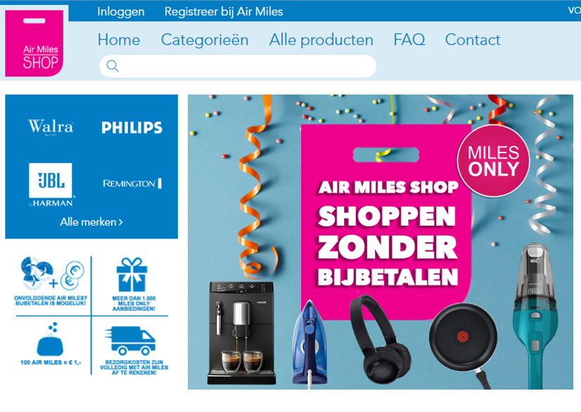 Website gebouwd voor Air Miles shop